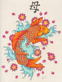 This took me 15 hours and stole every ounce of my sanity. I never again want to draw a koi fish or cherry blossoms. haha. This was for my mum on her 40th birthday today, and the Japanese symbol up ...