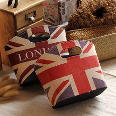 London m word flag desktop storage bag leather make-up box storage basket miscellaneously storage $13.76