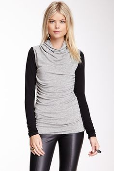 Funnel Neck Two-Tone Top
