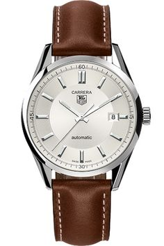 This Carrera Automatic Watch is ideal for dressy or casual occasions, and perfect for everyday wear. The classic silver dial and steel case and brown calfskin strap are perfect for today's active man.