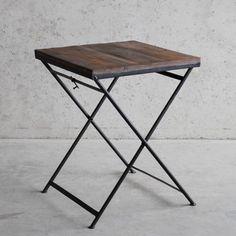 Klaptafel zwart staal met houten blad