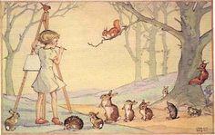 Molly Brett Postcard Which Shall I Sketch Medici Child Hedgehog Mice Squirrel | eBay