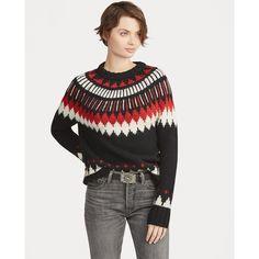 Polo Ralph Lauren Pull géométrique en laine mélangée Rouge Noir multi -  Pull Femme Ralph Lauren 6494c0fdf2a8