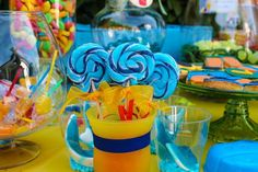 Colorful Beach Birthday Party snacks lollies cookies swirl lollipops