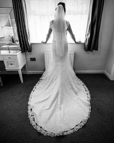 Stunning train on 'Ophelia' worn by real bride Rachel on the morning of her beautiful wedding | Wedding Dress | Lace trim | Train | Wedding Dress | Amanda Wyatt