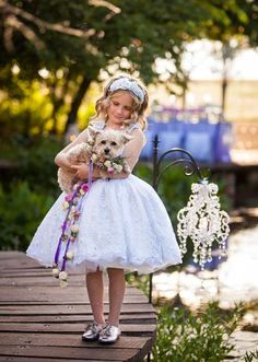 Perfect pup and fabulous flowergirl! love the floral leash! Allyson VinZant Events Tabletop | Brides of Oklahoma | Randy Coleman Photography