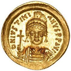Byzantine Gold Solidus Carthage Coin of Emperor Justinian I the Great, 527 AD | From a unique collection of antique and modern historical memorabilia at https://www.1stdibs.com/furniture/more-furniture-collectibles/historical-memorabilia/
