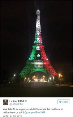 Euro 2016, la Torre Eiffel si colora con la bandiera italiana