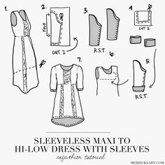 Merrick's Art // Style + Sewing for the Everyday Girl: MAXI TANK DRESS TO HI-LOW DRESS WITH SLEEVES REFASHION (TUTORIAL)