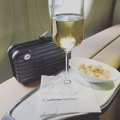 Lufthansa First Class Rimowa Amenity Bag and welcome champagne