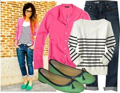 Pink cardigan, stripped shirt, jean capris, green ballerina flats