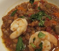 Roasted Red Pepper and Lentil Soup with Shrimp