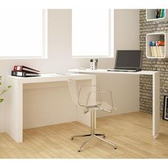 Manhattan Comfort Innovative Calabria Nested Desk White, Desks - Manhattan Comfort, Minimal & Modern - 2