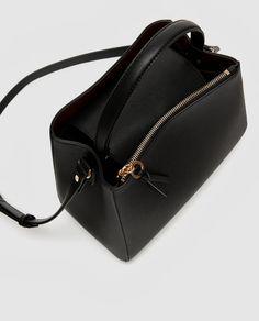 Image 7 of MEDIUM TOTE BAG WITH ZIP from Zara Medium Tote, Medium Bags, Zara Bags, Crossbody Bag, Tote Bag, Satchel, Black Leather Backpack, Beautiful Handbags, Leather Bags Handmade