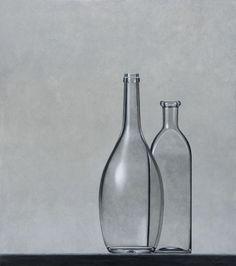 HENK BOON Beeldend kunstenaar : Compositie bolle en vierkante fles, olieverf/paneel, 62 X 55 cm