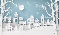 Winter Snow Urban Countryside Landscape City Village with ful lm royalty-free stock vector art