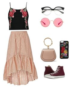 """Sin título #1"" by stefania-giuffrida ❤ liked on Polyvore featuring Boohoo, LoveShackFancy, Chloé, Ray-Ban and Converse"