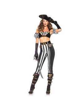 #Trendy Halloween - #Leg Avenue Black Beauty Pirate Adult Womens Costume - AdoreWe.com