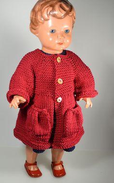 Puppenkleidung - Puppenmantel gestrickt für 38 cm Puppe - ein Designerstück von Monikas-Puppenmode bei DaWanda