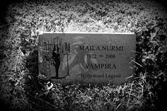 Vampira's grave, Hollywood Forever Cemetery, Los Angeles.