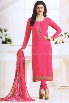 Designer Crepe fabric Unstitched Pink colored long sleeve Dress Material. The kameez material is beautifully crafted with stone, resham and zari work having contrast designer border. Available with matching bottom material and Chiffon fabric printed dupatta. This attire suit will give you a royal touch in any social event or party.