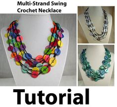 This pdf file tutorial will show you how to crochet this beautiful button necklace. You could use beads for a slightly different look. There are 6 pages