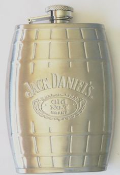 """Jack Daniel's Stainless Steel Barrel Flask 6 Oz Silver Color by Jack Daniel's. $24.99. Jack Daniel's Stainless Steel Barrel Flask 6 Oz Silver Color:     Product Features    Captive top with knob   Captive top with knob   Official licensed product   Stainless Steel """"Jack Daniel's Old No7 BRAND"""" Label Printed on Flask as shown in Picture Flask Dimensions: 5.25"""" (height) x 3.25"""" (width) x .85"""" (thickness) (approximately)   Flask Weight: 4 OZ"""