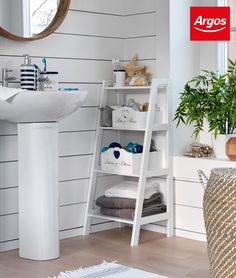 Take advantage of every corner. Ladder shelving units can provide valuable shelf space and serve as a stylish statement piece. This is the Argos Home Ladder Storage Unit Ladder Shelving Unit, Ladder Storage, Small Shelving Unit, Bathroom Shelving Unit, Small Toilet Room, Declutter Home, Sheila E, Home Organisation, Kids Room Design