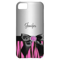 customized pink Elegant  zebra print iPhone 5 case