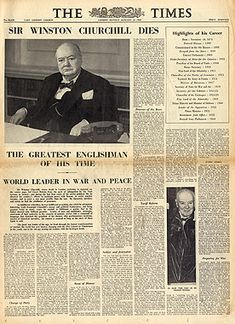 Newspaper announcement of his death.  http://www.rosettabooks.com/author/winston-churchill/