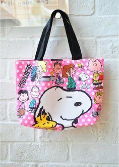 f6b8b4f96e03 Peanuts Snoopy Tote Bag Handbag Lunch Bag Dot Pink Hello Kitty Kitchen