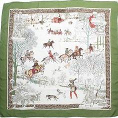 """Hermes Green Silk """"L'Hiver"""" Designer Scarf - $279.99"""