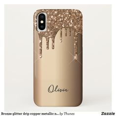 Bronze glitter drip copper metallic name iPhone XS case Glitter Phone Cases, Drip Painting, Copper Metal, Samsung Galaxy Cases, Plastic Case, Ipad Case, Iphone Case Covers, Apple Iphone, Christmas Gifts