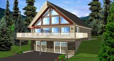 A-Frame  House Plan 99976 Total Living Area: 3164. Would be good with a view of the woods.