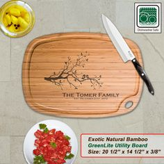 Personalized Extra Large Bamboo Cutting Board - Design 27