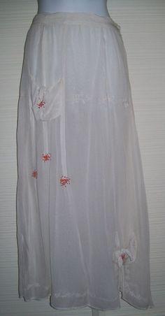 "Vintage Style Rose Embroidered Ivory Skirt S 26"" W Pink Buds Lined BoHo Wedding #unbrandednotags #PeasantBoho #BoHoWeddingSkirt"