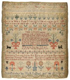 Ann Rowley - probably Connecticut - 1775. Silk on linen; cross and satin stitches. Philadelphia Museum of Art - Collections Object : Sampler