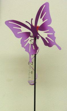 Purple Butterfly Rain Gauge/Hummingbird Feeder Garden Stake