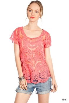 Umgee Boutique Pink Boho Bohemian Lace Embroidered Sheer Lace Tee  S/M M/L #umgee #KnitTop