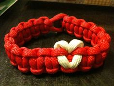 550 Paracord Bracelet with Heart Show Some by fashionintheforest, $7.00    5501 Paracord Bracelet with White Heart.    #550paracord #paracordbracelet #paracord  #red #white #survivalbracelet #paracordnecklace #paracordawarenessbracelet #awarenessbracelet