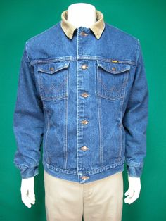 Wrangler Men's Blue Denim Blanket Lined Jacket Size 42 L #Wrangler #JeanJacket
