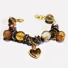 #Bracciale Metallo Anallergico Colore Oro con #Giade, #Agate e #Ciondoli