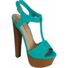 Aqua peep toe side buckle strap platform high heels