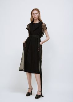 6fe28e2a62 Jil Sander Dalmazia Sheer Dress (Black) Grosgrain Ribbon