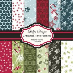 Set of 12 Christmas inspired patterns. Great for cards, invitations, craft projects, gift, and papers guds.     Format: 12x12inch-300dpi JPG