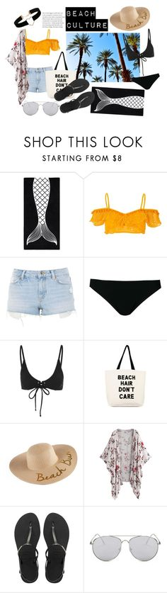 """A day at the beach"" by joaquimsobreiro on Polyvore featuring PBteen, River Island, Topshop, Rick Owens, MINKPINK, Fallon & Royce, SONOMA Goods for Life, Havaianas, Forever 21 and Miss Selfridge"