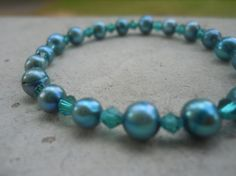 Teal Freshwater Pearl Bracelet by Shelithas on Etsy, $19.99