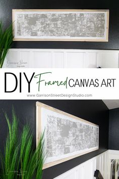 DIY Framed Canvas Art | ©GarrisonStreetDesignStudio | Easy | DIY | Canvas | Art | Framed | Ideas | Wall Art | | Paint | Sponge Paint | Hallway Decor | Gallery Wall | Oversized | Large Scale | Big Wall Art | Paintings | Abstract | Wood Frame | Projects | Artwork | for living room | bedroom | dining room | diy art decor | Modern | Modern Farmhouse | Upcycle | Canvas Art Makeover | Paint over | How to frame a canvas | Unique | Art Decor DIY | Homemade Art | Cheap | Affordable | Simple Diy Wall Decor, Art Decor, Diy Home Decor, Decor Ideas, Diy Artwork, Artwork Ideas, Small House Decorating, Decorating On A Budget, Diy Canvas Art
