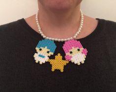 Hama bead mini unicorn necklace by TokyoSugoi on Etsy