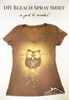 Cool DIY Ideas for Fun and Easy Crafts - Homemade Bleach Spray Tshirt Tutorial is a Creative Arts and Crafts Idea- Awesome Pinterest DIYs that Are Not Impossible To Make - Creative Do It Yourself Craft Projects for Adults, Teens and Tweens. http://diyprojectsforteens.com/fun-crafts-pinterest